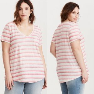 Torrid Faded Stripe V Neck Tee Womens Size Large